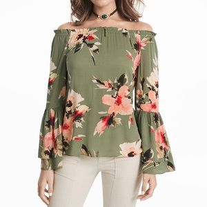 WHBM women's OFF THE SHOULDER FLORAL BLOUSE XS